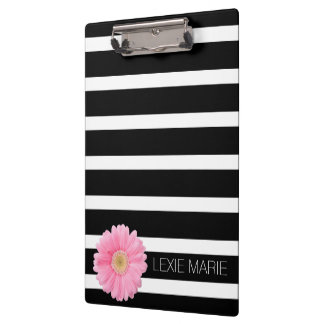 Black and White Stripe With Pink Daisy Clipboards