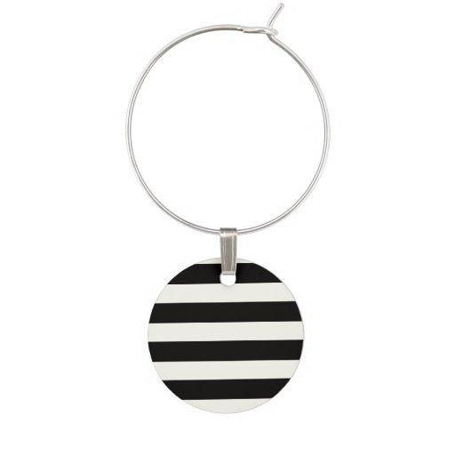 Black and White Stripe Wine Charm