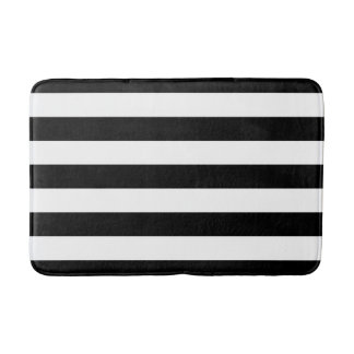 Black and White Striped Bath Mat