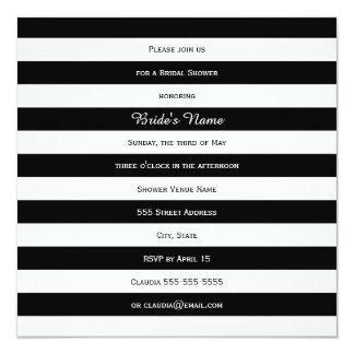 Black and White Striped Bridal Shower 13 Cm X 13 Cm Square Invitation Card