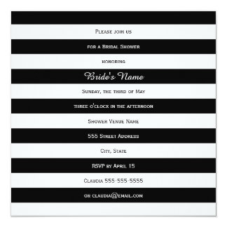 Black and White Striped Bridal Shower Card