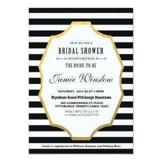 Black and White Striped Bridal Shower Invitation