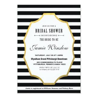"""Black and White Striped Bridal Shower Invitation 5"""" X 7"""" Invitation Card"""