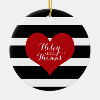 Black and White Striped Christmas Ornament