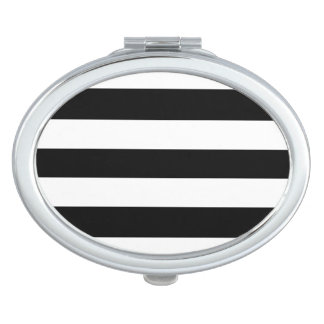Black and White Striped Compact Mirror