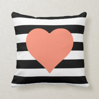 Black and White Striped Coral Heart Throw Pillow Throw Cushions