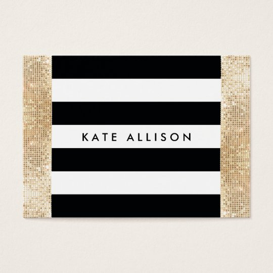 Black and White Striped FAUX Gold Sequin Beauty