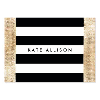 Black and White Striped FAUX Gold Sequin Beauty Pack Of Chubby Business Cards