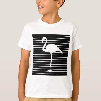Black and White Striped flamingo T-Shirt