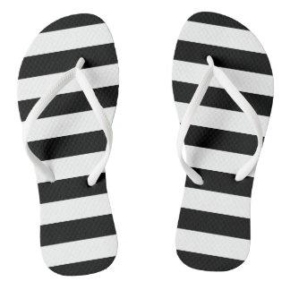 Black and White Striped Flip Flops