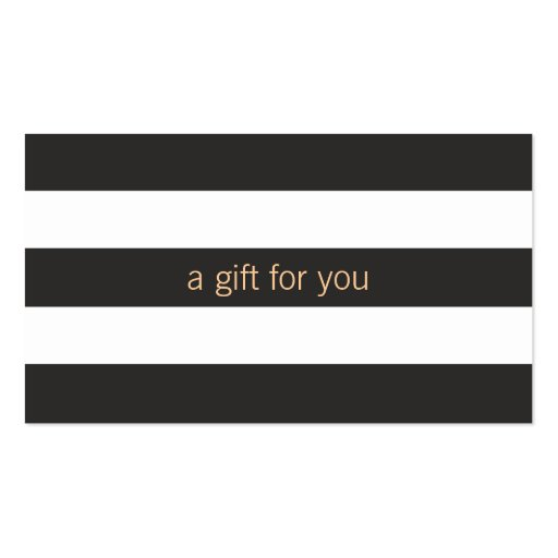 Black and White Striped Gift Card Business Card Templates