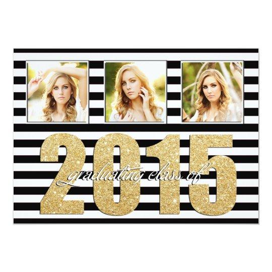 Black and White Striped, Glitter Gold Graduation Card