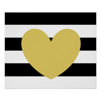 "Black and White Striped, Gold Heart 24""x20"" Poster"