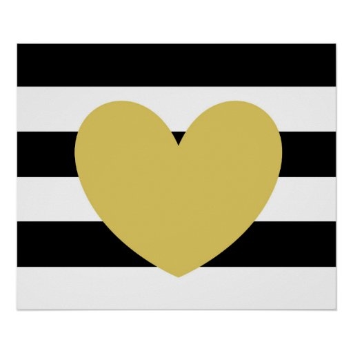 """Black and White Striped, Gold Heart 24""""x20"""" Poster"""
