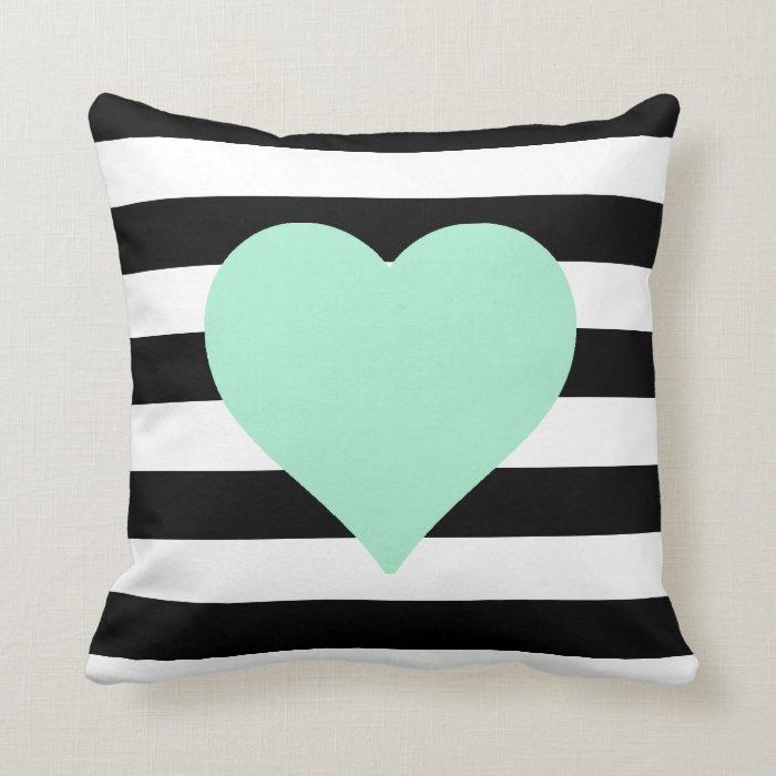 White Heart Throw Pillow : Black and White Striped Mint Heart Throw Pillow Zazzle