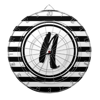 Black and White Striped Monogram - A Dartboards