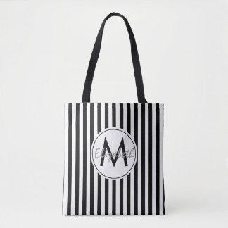 Black and White Striped Monogram and Name Tote Bag