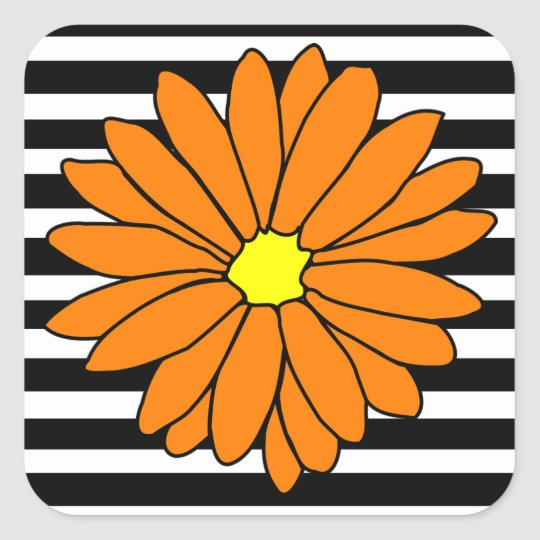 Black and White Striped Orange Flower Stickers