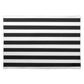 Black And White Striped Pattern. 100% Woven Cotton Placemat