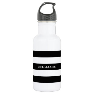 Black and White Striped Pattern Custom Name 532 Ml Water Bottle