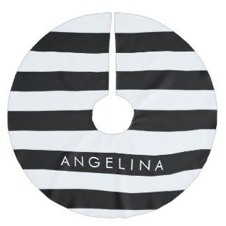 Black and White Striped Pattern Custom Name Brushed Polyester Tree Skirt