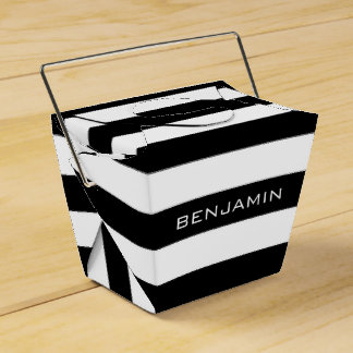 Black and White Striped Pattern Custom Name Favour Box