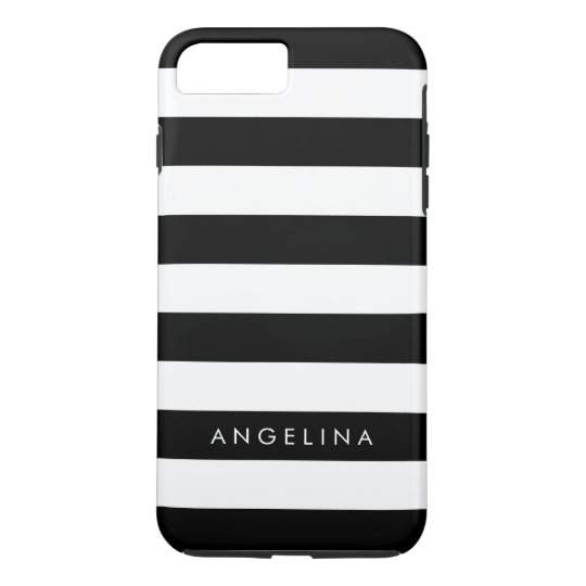 Black and White Striped Pattern Custom Name iPhone