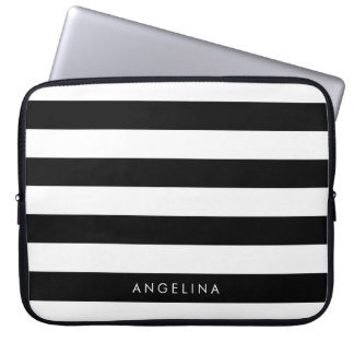 Black and White Striped Pattern Custom Name Laptop Sleeve