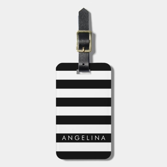 Black and White Striped Pattern Custom Name Luggage