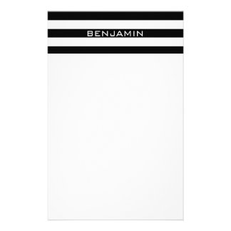 Black and White Striped Pattern Custom Name Personalized Stationery