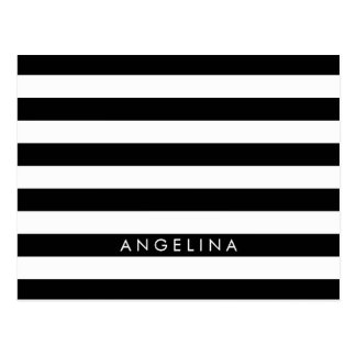 Black and White Striped Pattern Custom Name Postcard