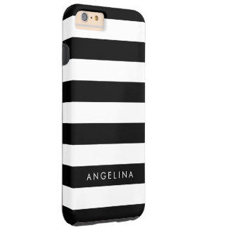 Black and White Striped Pattern Custom Name Tough iPhone 6 Plus Case