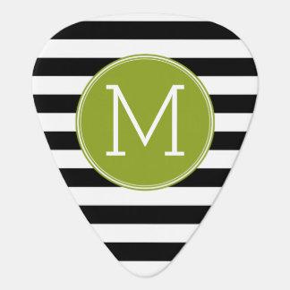 Black and White Striped Pattern Green Monogram Plectrum