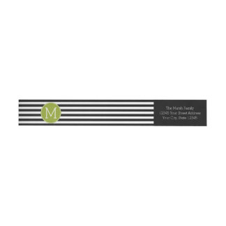 Black and White Striped Pattern Green Monogram Wrap Around Label
