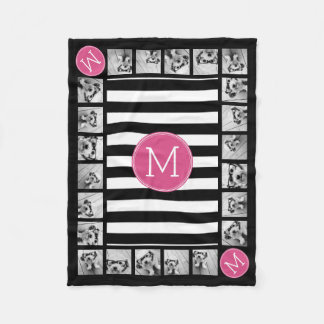 Black and White Striped Pattern Hot Pink Monogram Fleece Blanket