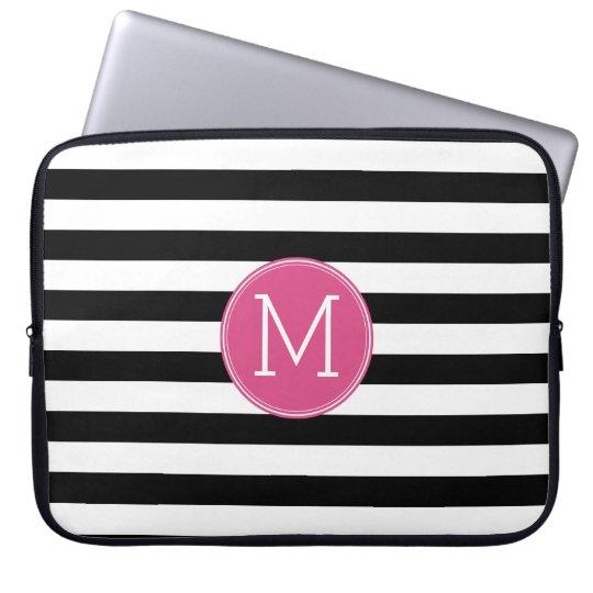Black and White Striped Pattern Hot Pink Monogram