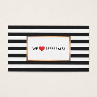 Black and White Striped Red Heart Referral Business Card
