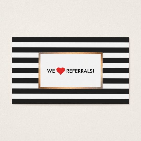 Black and White Striped Red Heart Referral Business