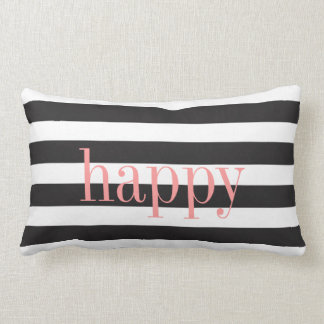 Black and White Striped Reversible Emotion Pillow