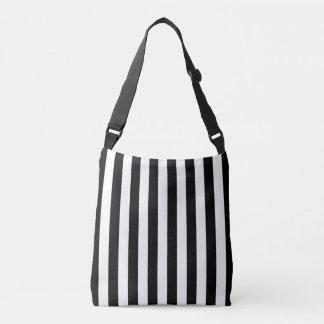 black and white striped shoulder bag