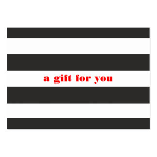 Black and White Striped Simple Holiday Gift Card Pack Of Chubby Business Cards
