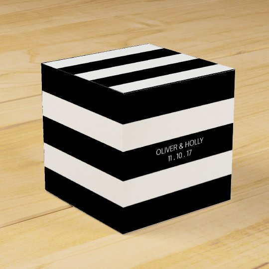 Black and white striped wedding favour box