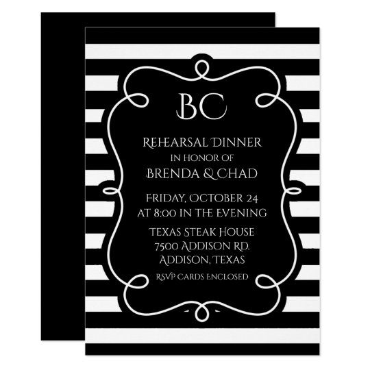 Black and White Striped Wedding Rehearsal Dinner Card