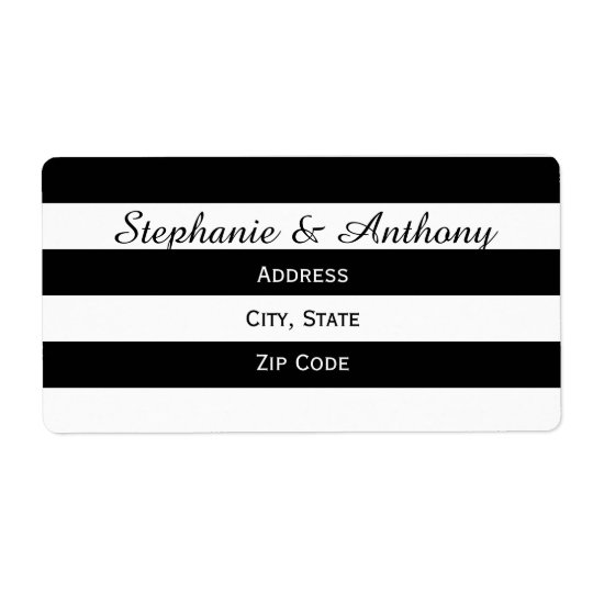 Black and White Striped Wedding Shipping Label