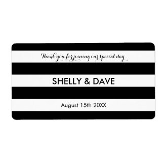 Black and white striped wedding water bottle label shipping label