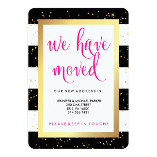 Black and White Stripes and Gold Change of Address 13 Cm X 18 Cm Invitation Card