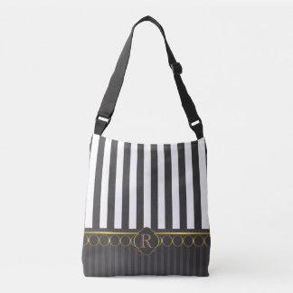 Black and white stripes and gold trim crossbody bag