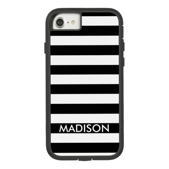 Black And White Stripes And Name Case-Mate Tough