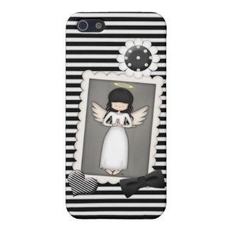 Black and White Stripes,  Angel and Embellishments Case For The iPhone 5