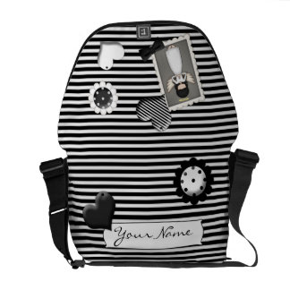 Black and White Stripes,  Angel and Embellishments Commuter Bags